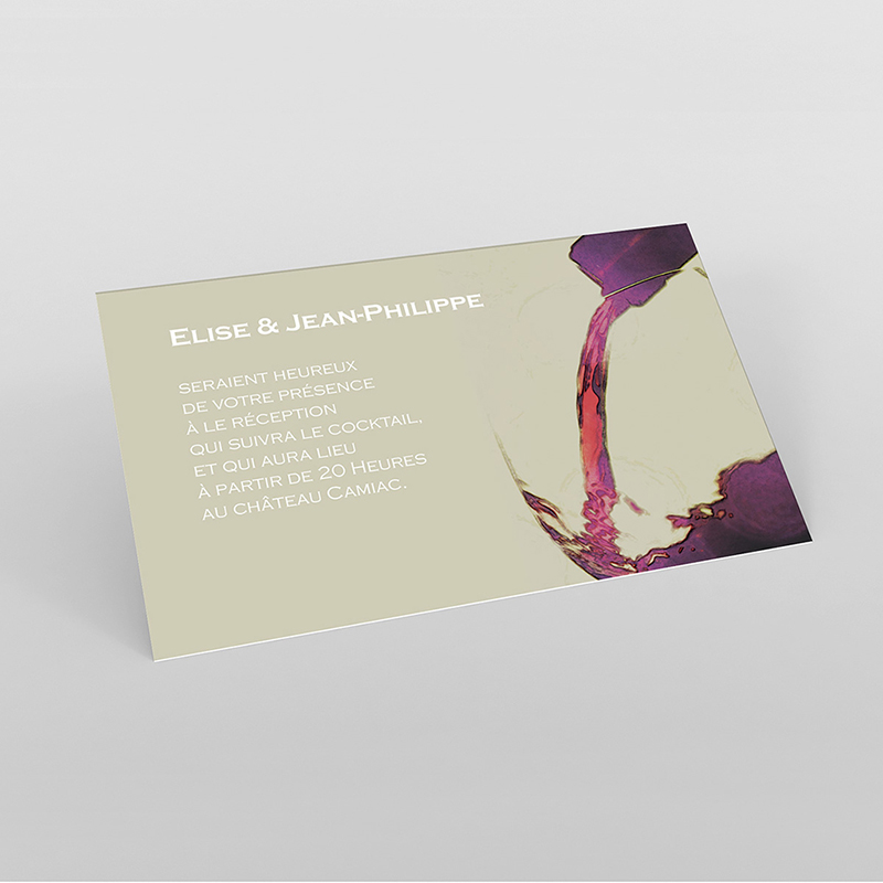 Carte d'invitation mariage Vendanges d'amour