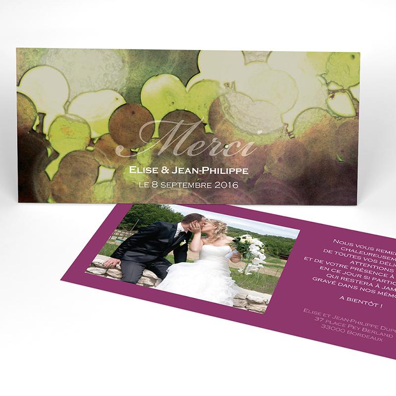Carte de remerciement mariage Vendanges d'amour