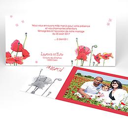 Carte de remerciement mariage Coquelicots