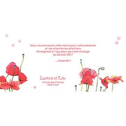 Carte de remerciement mariage Coquelicots  pas cher