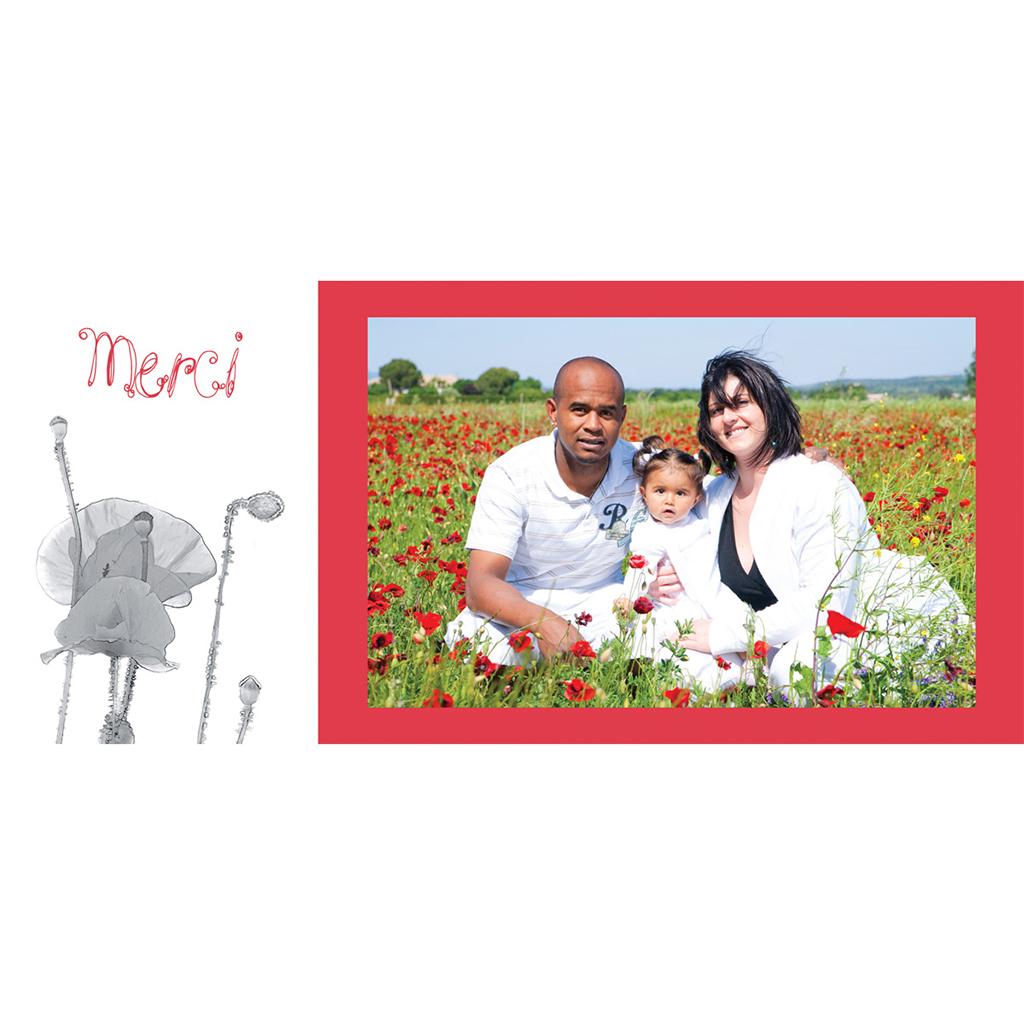 Carte de remerciement mariage Coquelicots  gratuit