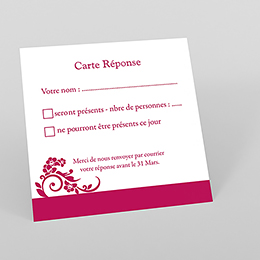 Carton réponse mariage Cérémonie rose