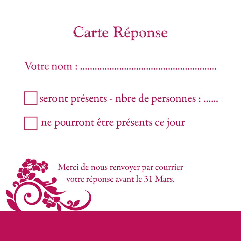 Carton réponse mariage Cérémonie rose pas cher