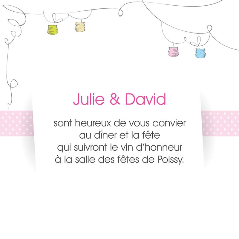 Carte d'invitation mariage Jour de fête  pas cher