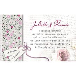 Carte d'invitation mariage Bohème  pas cher