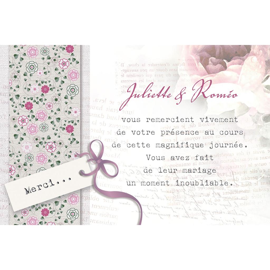 Carte de remerciement mariage Bohème  pas cher