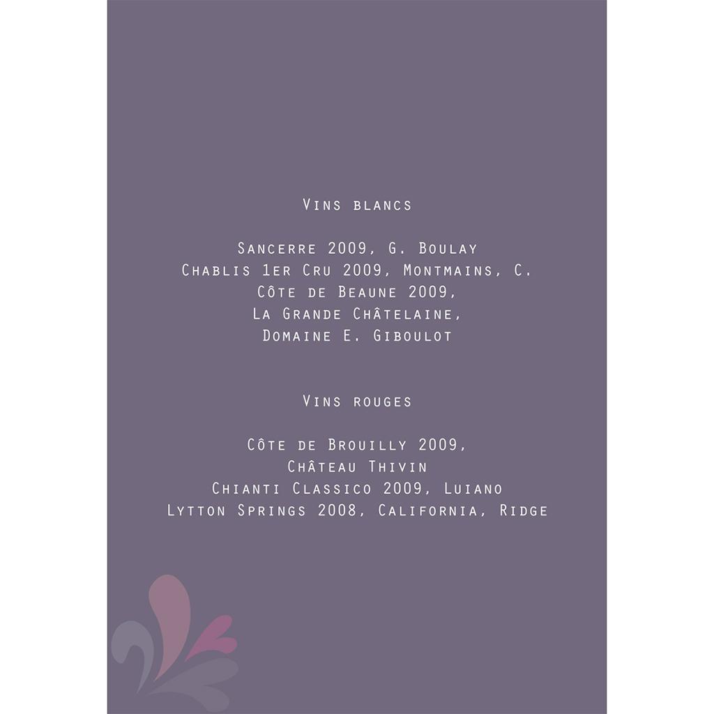 Menu mariage Paris violine gratuit