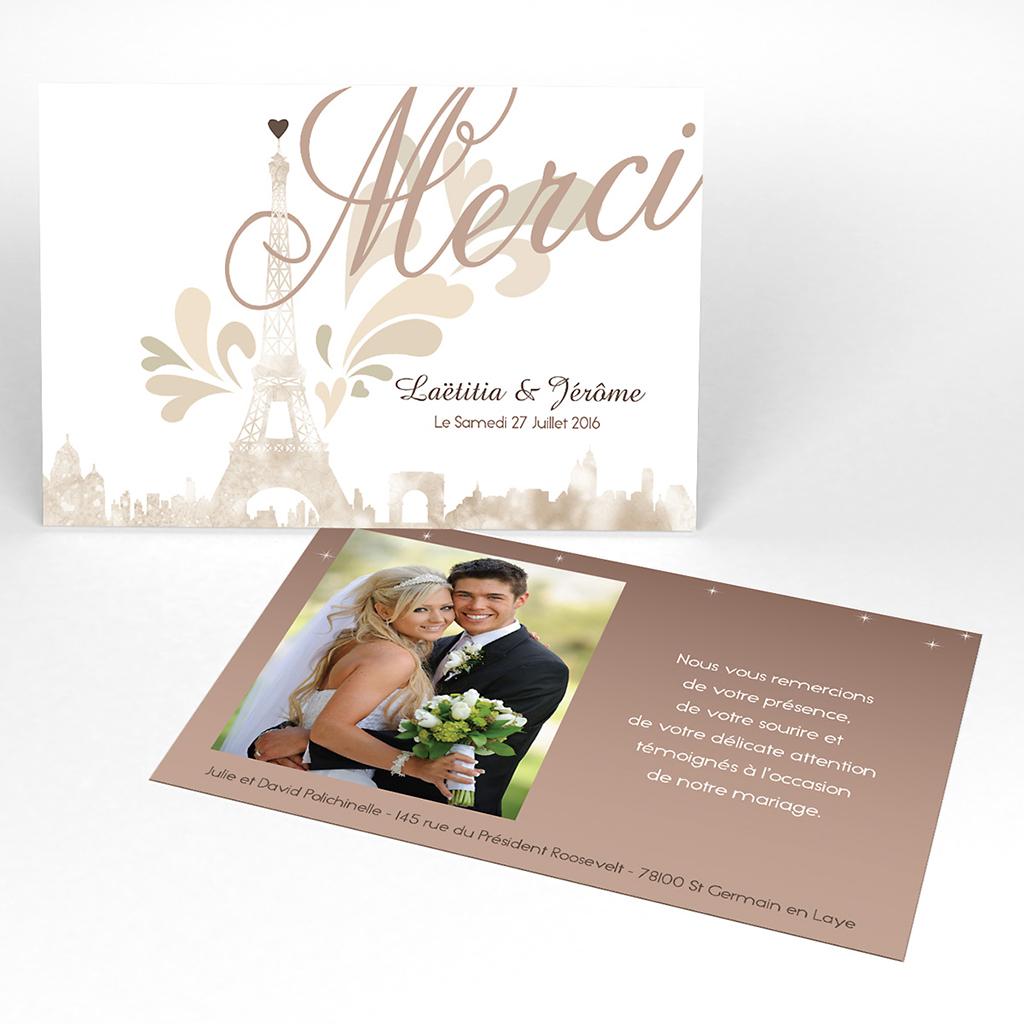 Carte de remerciement mariage Paris sépia