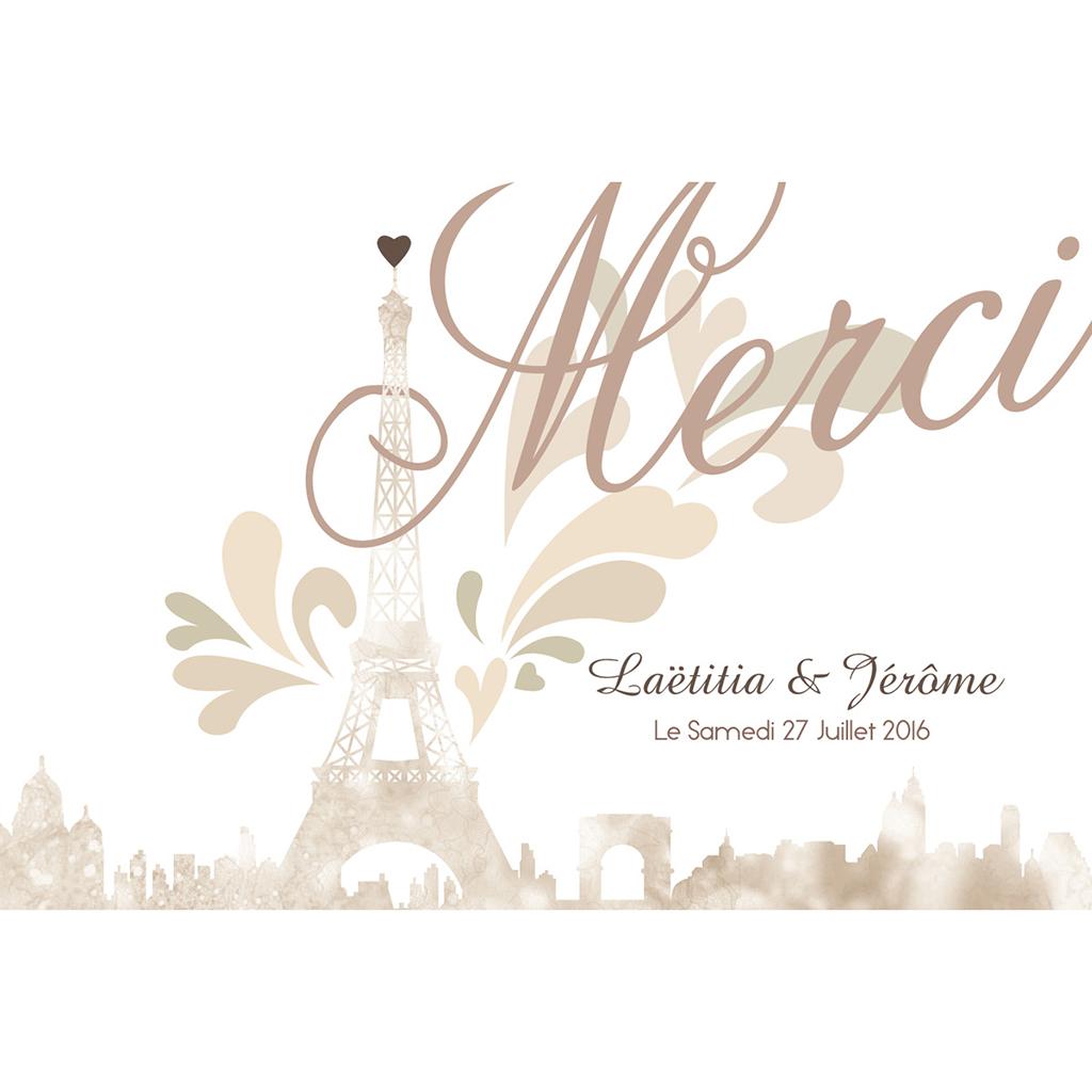 Carte de remerciement mariage Paris sépia pas cher