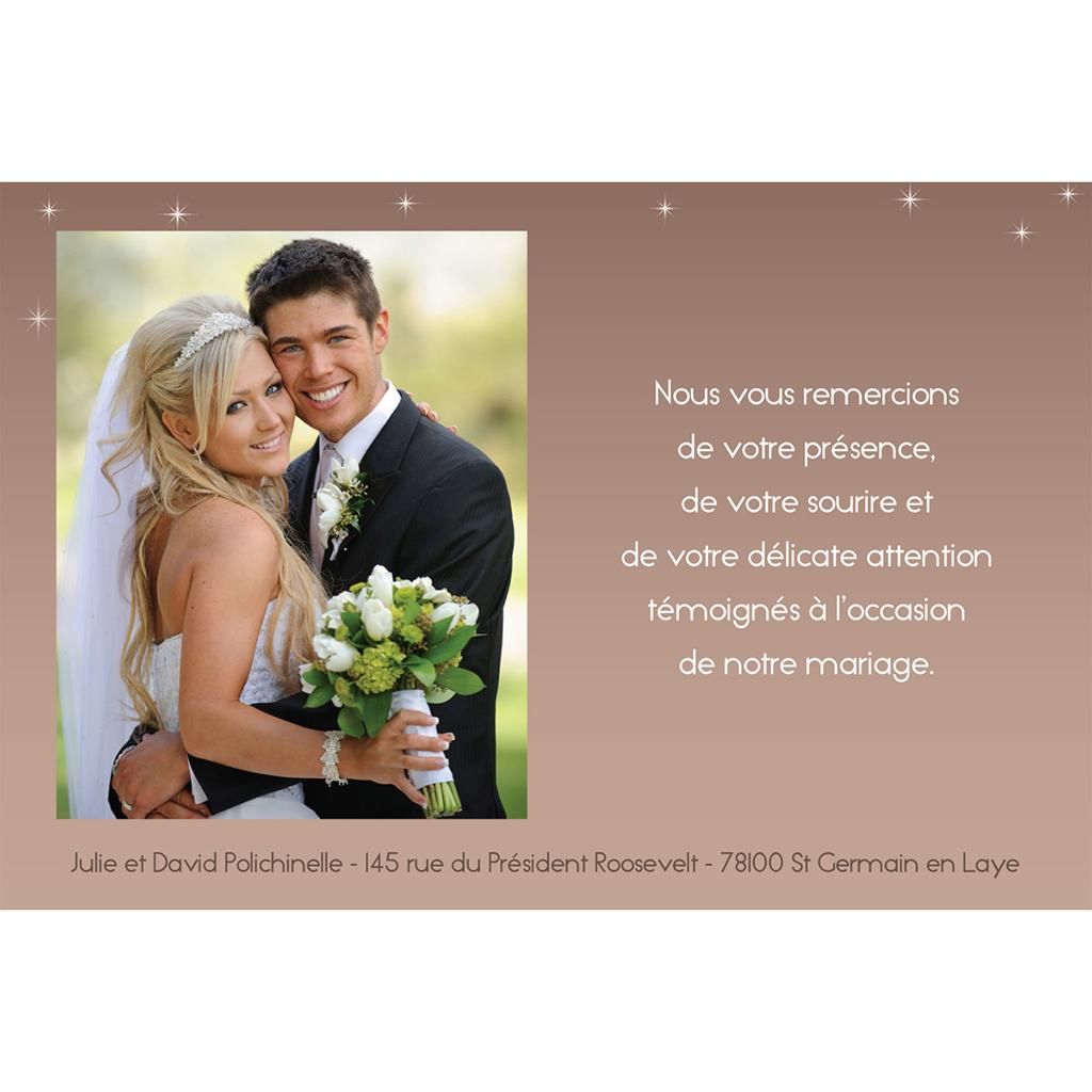 Carte de remerciement mariage Paris sépia gratuit