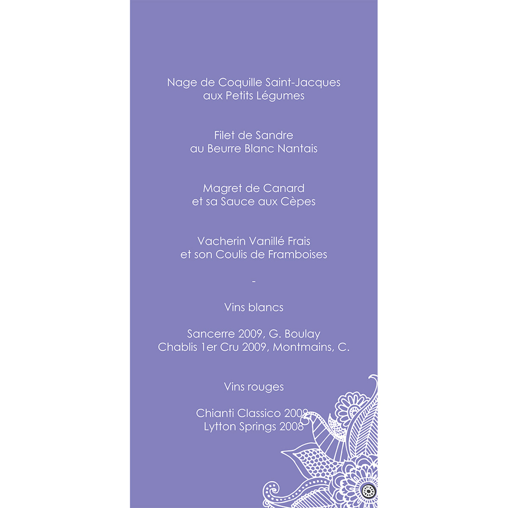 Menu mariage Flora améthyste  gratuit
