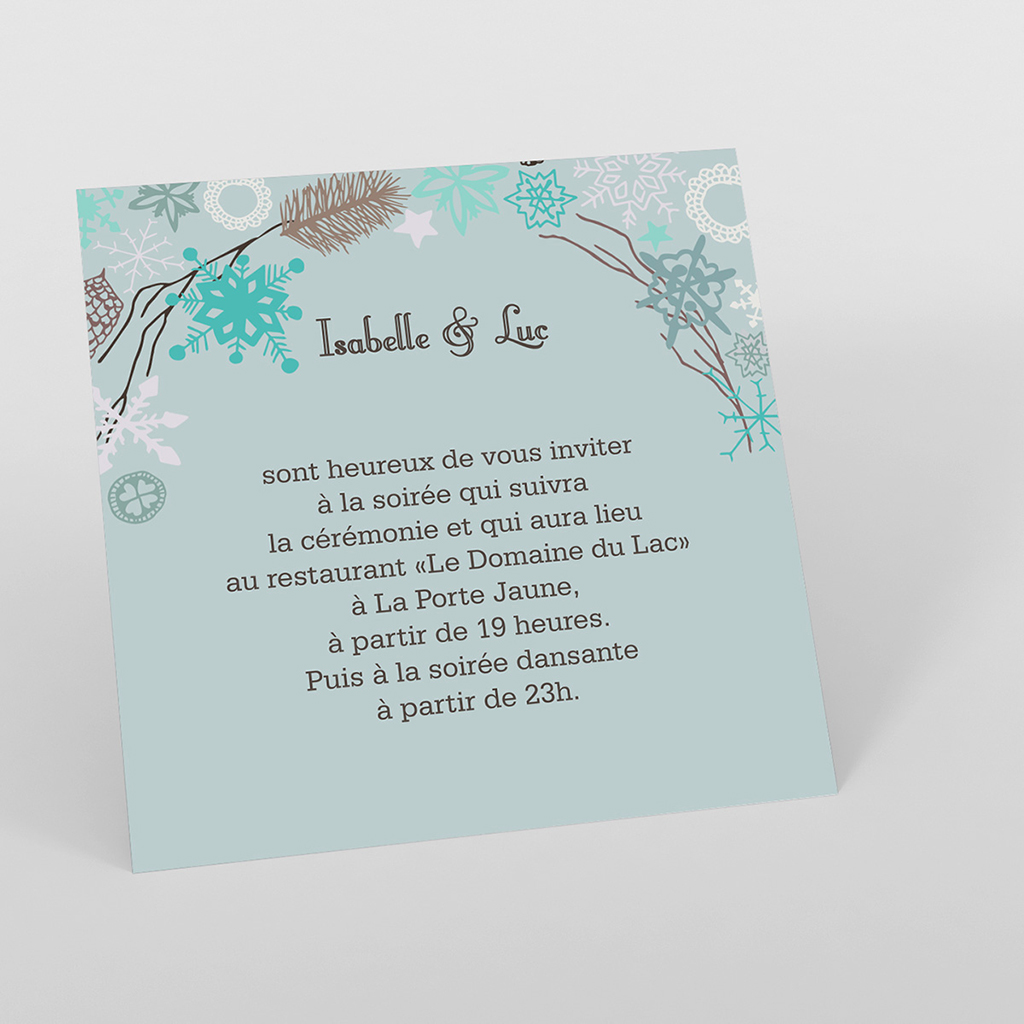 Carte d'invitation mariage Souffle d'hiver
