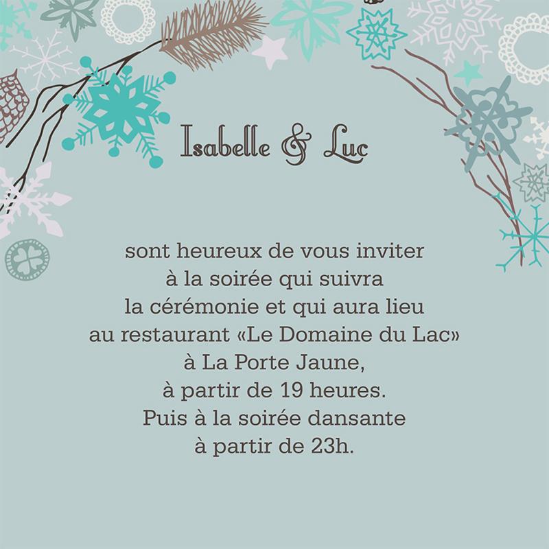 Carte d'invitation mariage Souffle d'hiver  pas cher