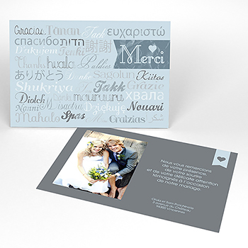 Carte de remerciement mariage Mille fois oui gris