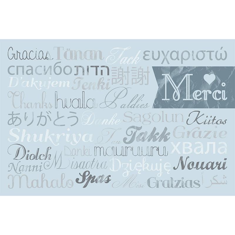 Carte de remerciement mariage Mille fois oui gris pas cher