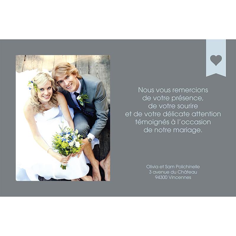 Carte de remerciement mariage Mille fois oui gris gratuit