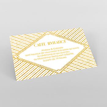 Carte d'invitation mariage Mariage années folles blanc