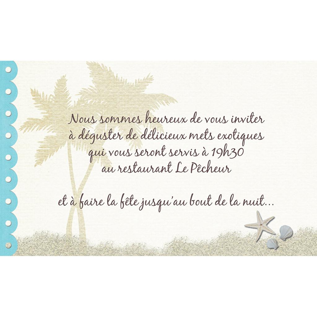 Carte d'invitation mariage Exotique  pas cher