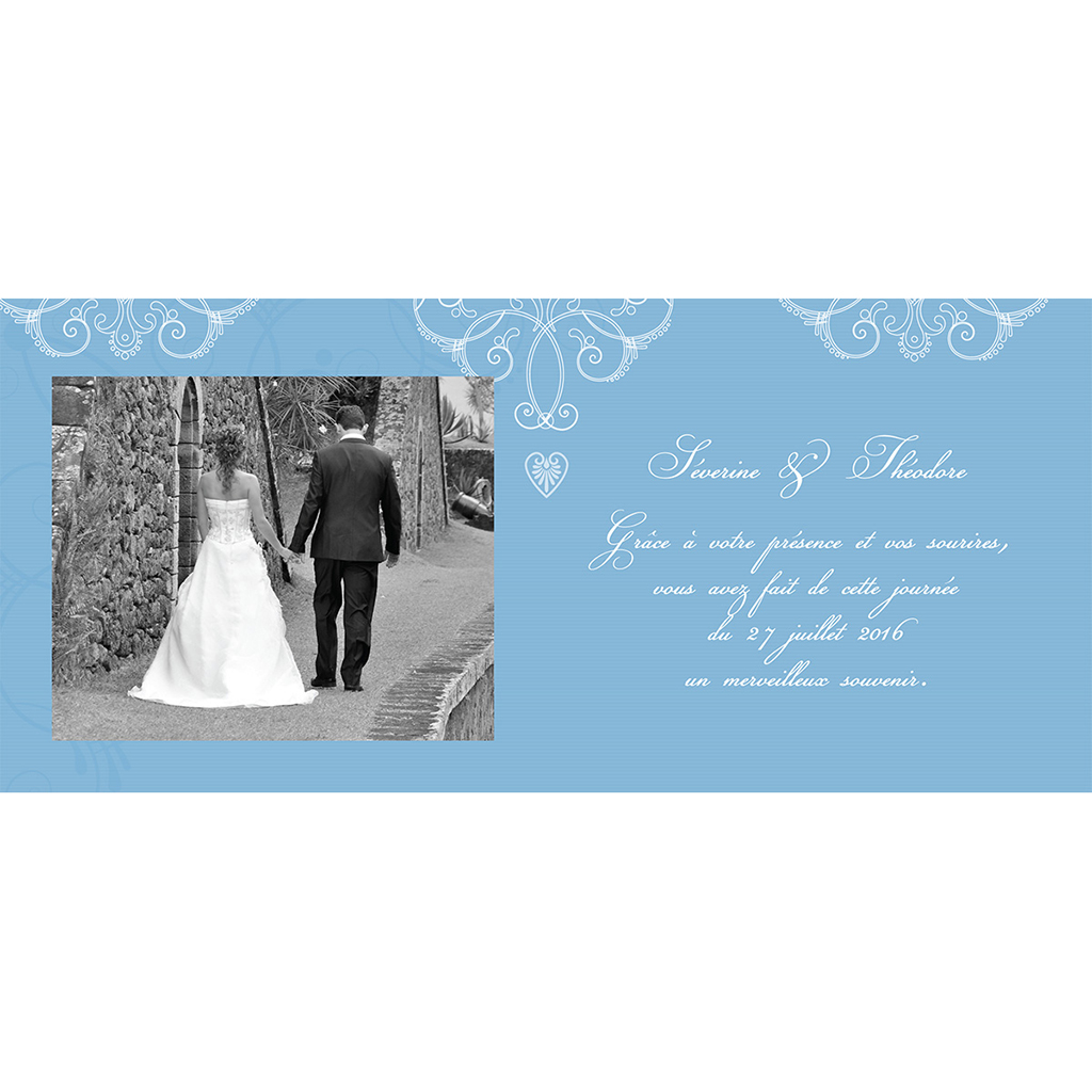 Carte de remerciement mariage Céleste  pas cher