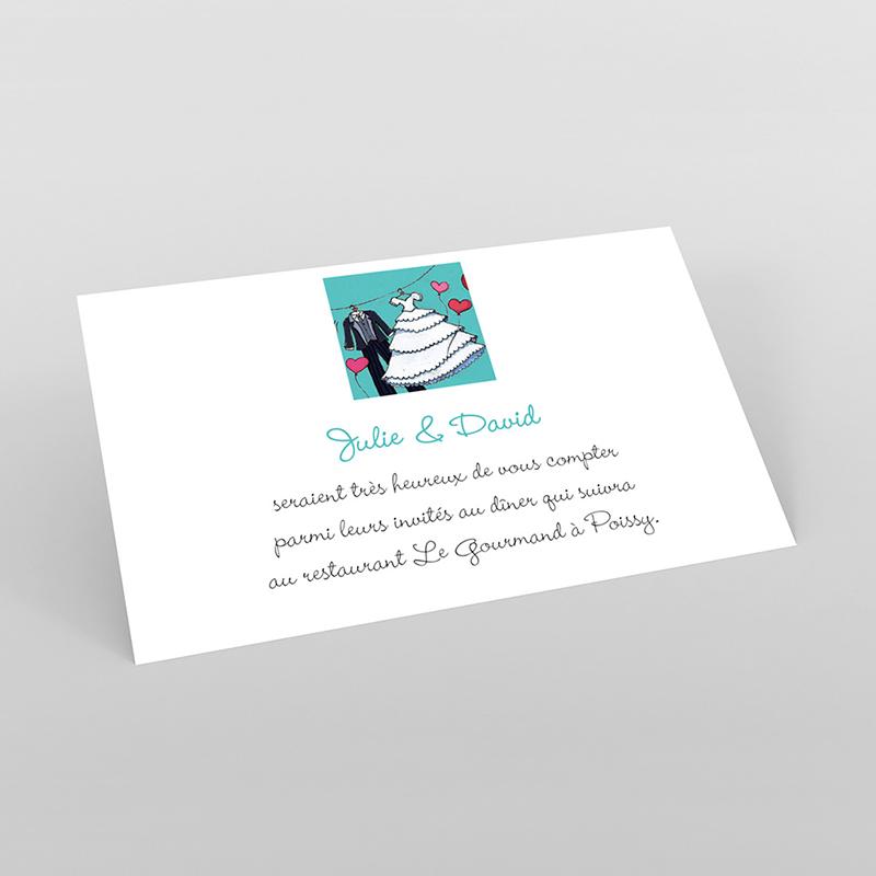 Carte d'invitation mariage Union bleu