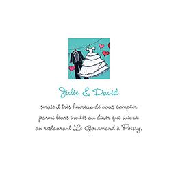 Carte d'invitation mariage Union bleu pas cher