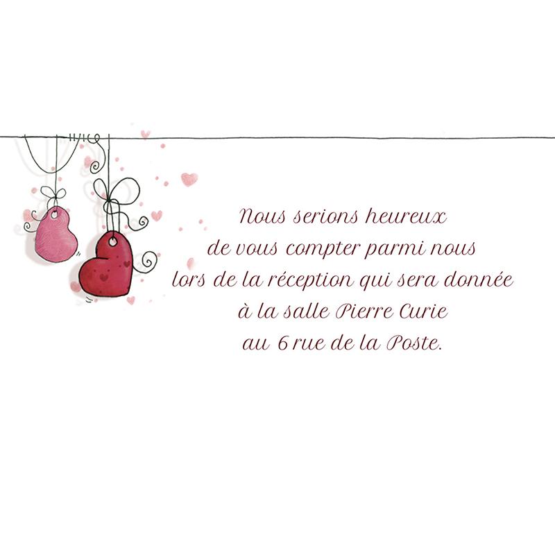 Carte d'invitation mariage Les Coeurs  pas cher