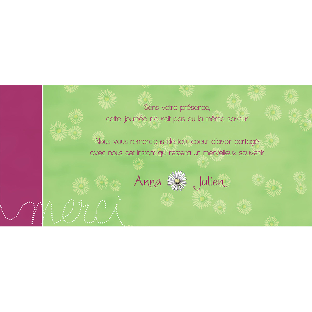 Carte de remerciement mariage A la folie  pas cher