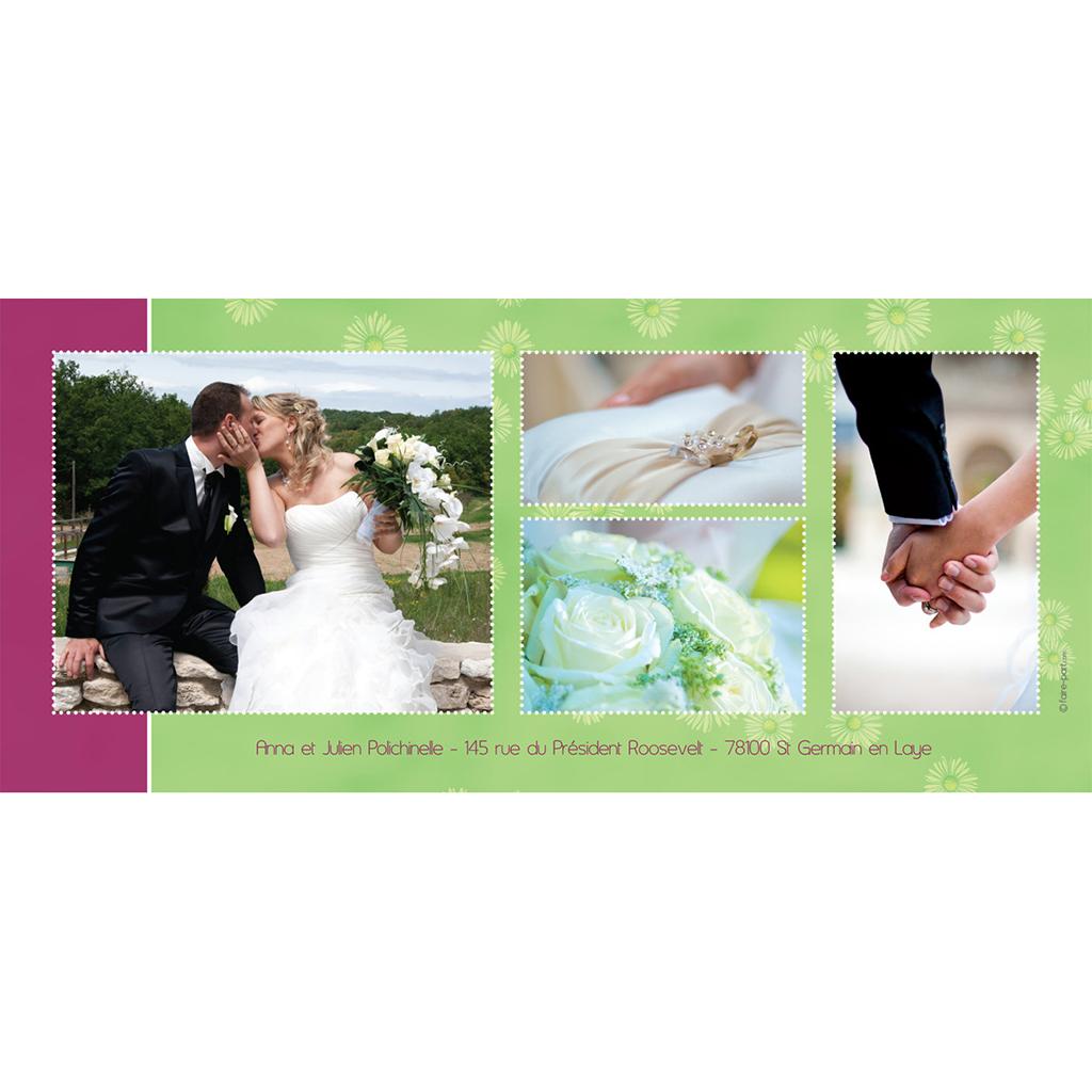 Carte de remerciement mariage A la folie  gratuit