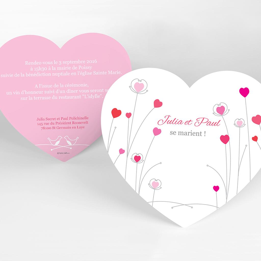 Faire-part de mariage Idylle rose