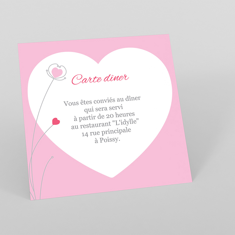 Carte d'invitation mariage Idylle rose