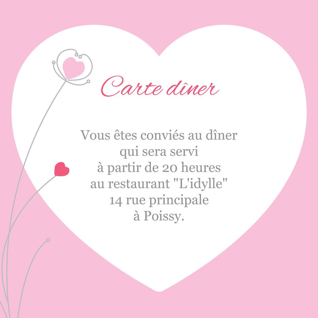 Carte d'invitation mariage Idylle rose pas cher