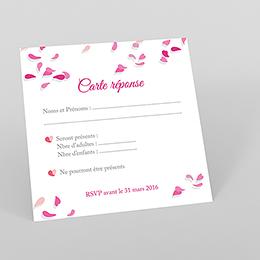 Carton réponse mariage Pétales rose