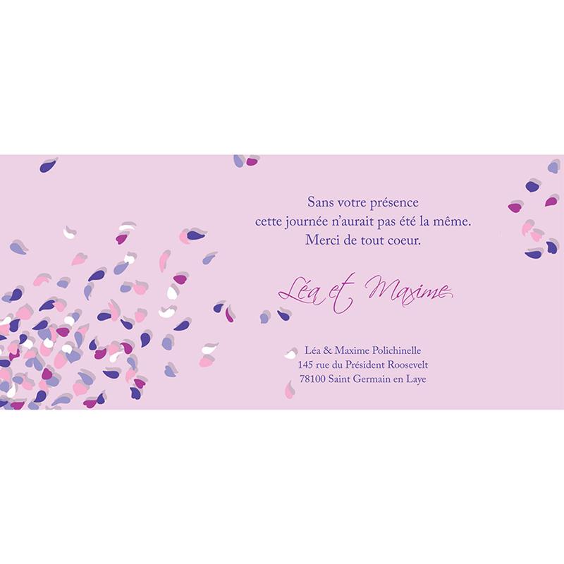 Carte de remerciement mariage Pétales mauve pas cher