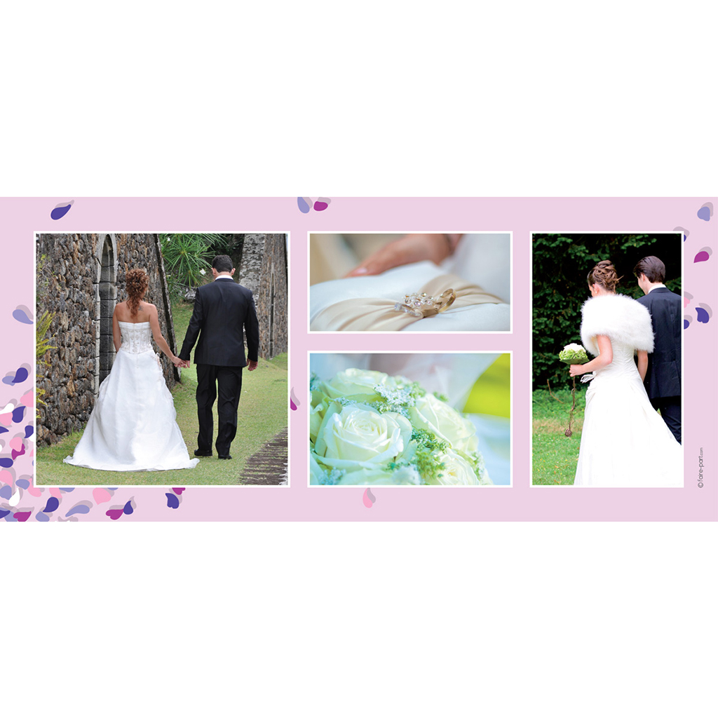 Carte de remerciement mariage Pétales mauve gratuit