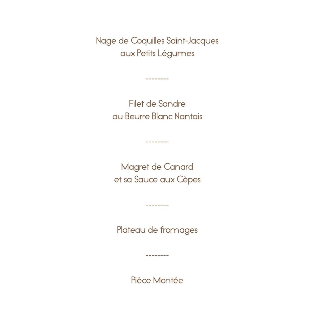 Menu mariage La Plage