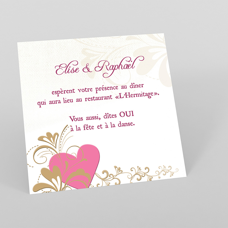 Carte d'invitation mariage Certitude