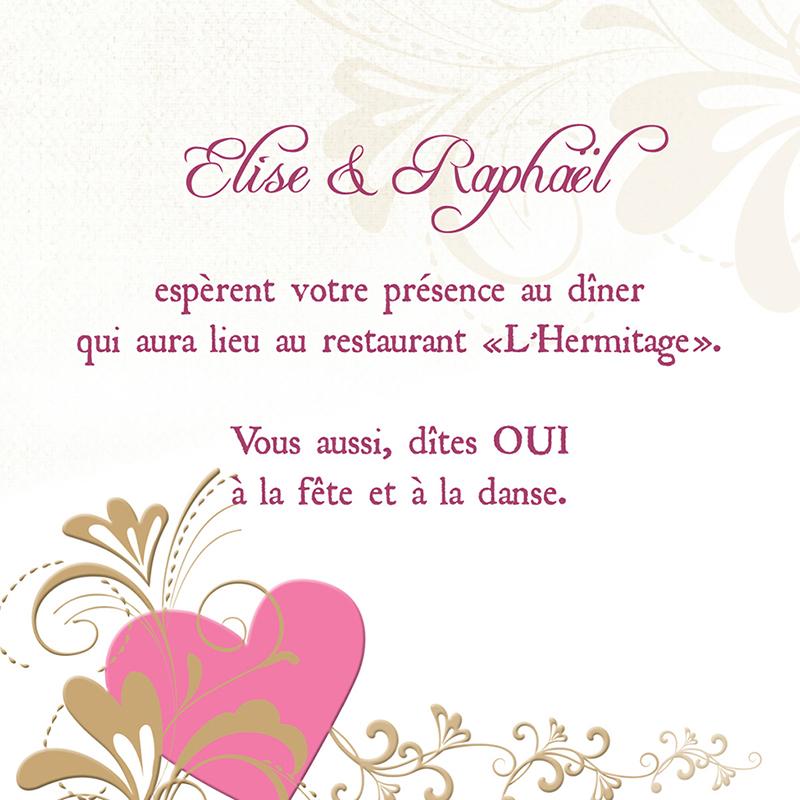 Carte d'invitation mariage Certitude  pas cher