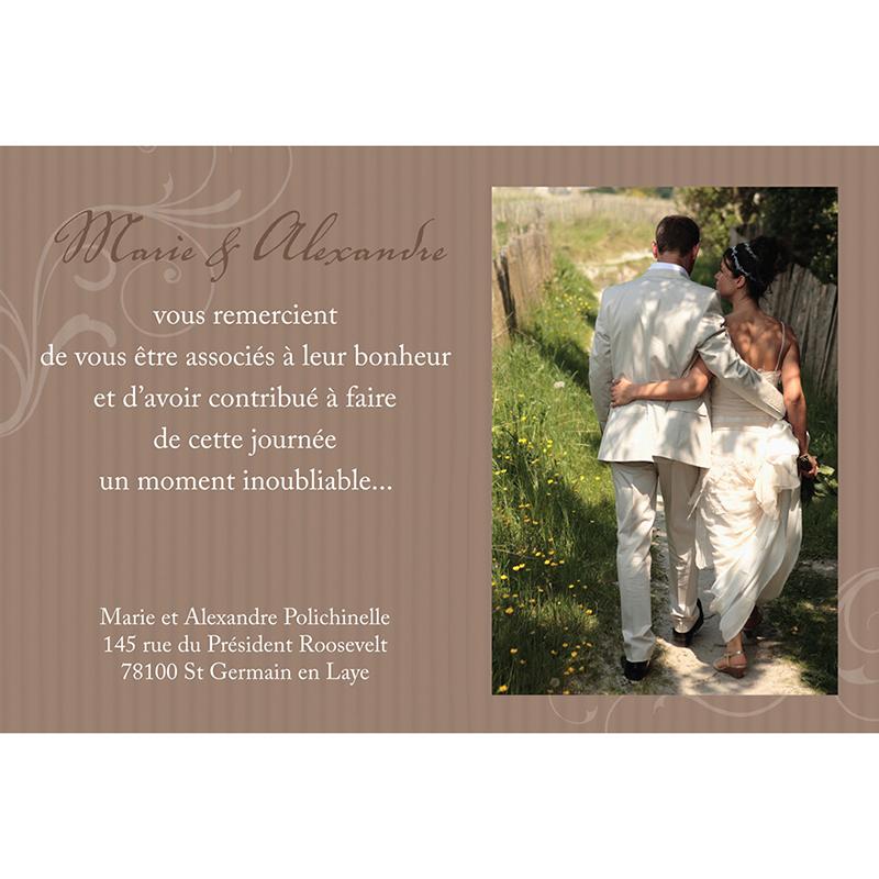 Carte de remerciement mariage Bouquet  gratuit
