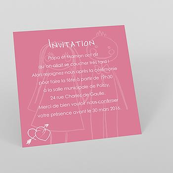 Carte d'invitation mariage Mots d'enfant rose