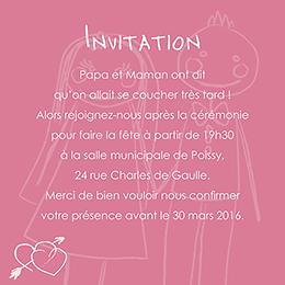 Carte d'invitation mariage Mots d'enfant rose pas cher