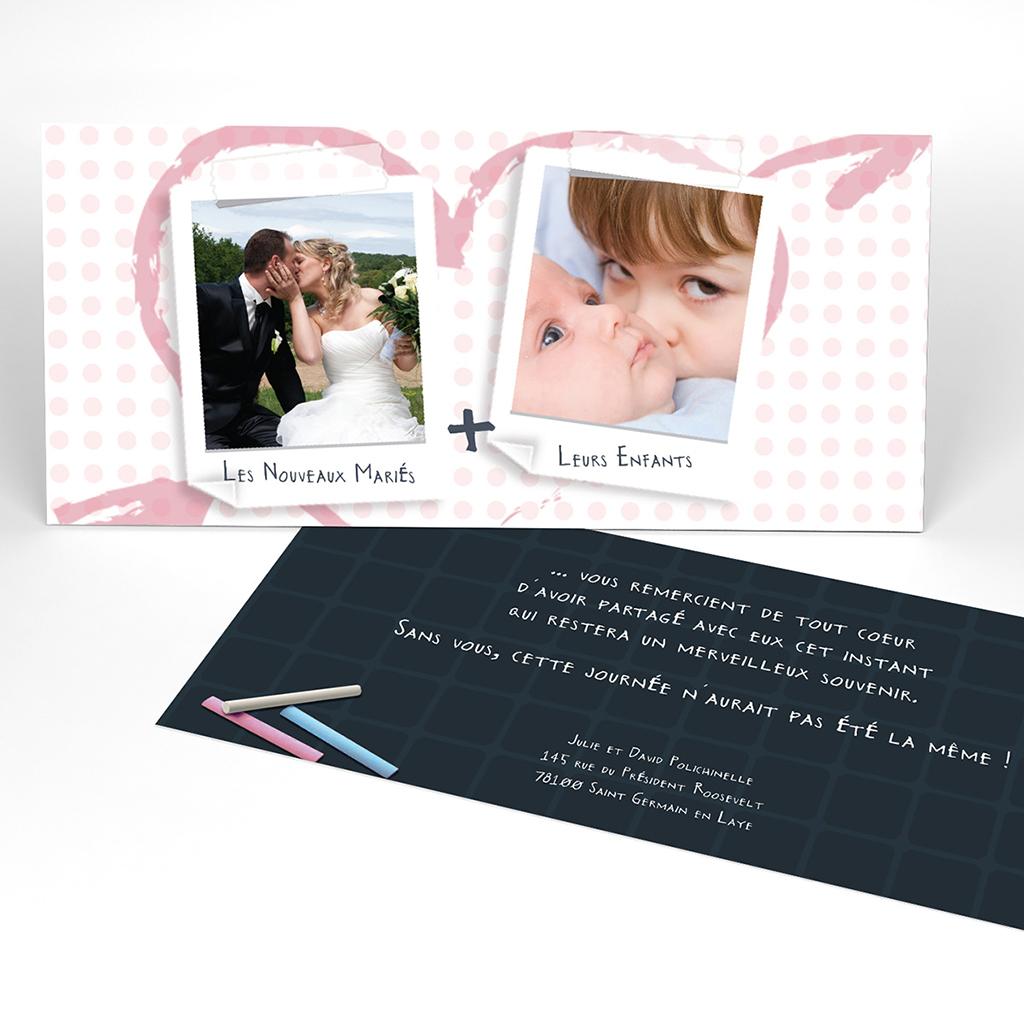 Carte de remerciement mariage Mots d'enfant rose
