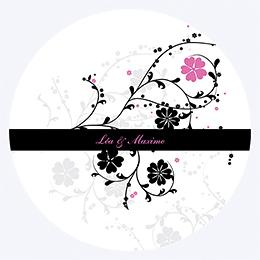 Faire-part de mariage Nuptial rond noir rose pas cher