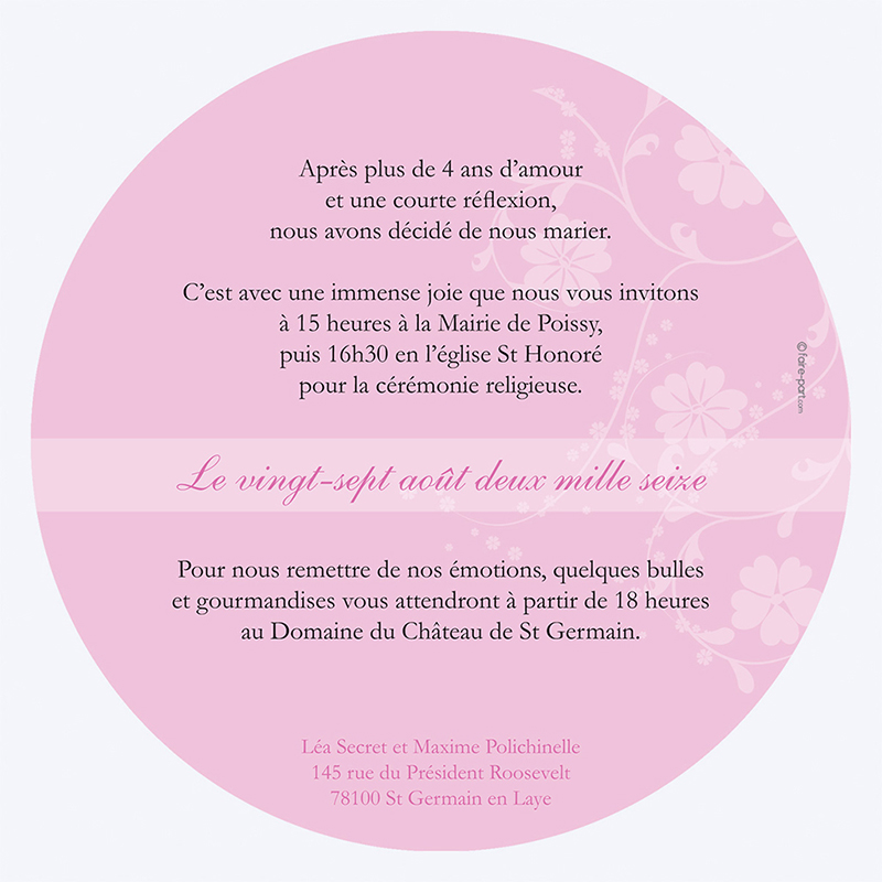 Faire-part de mariage Nuptial rond noir rose gratuit
