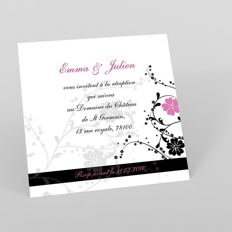 Carte d'invitation mariage Nuptial rond noir rose