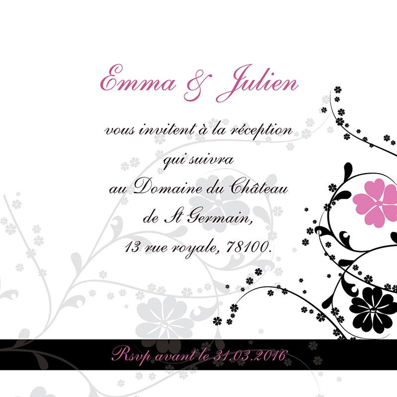 Carte d'invitation mariage Nuptial rond noir rose pas cher