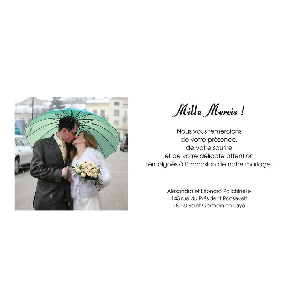 Carte de remerciement mariage A notre image panoramique gratuit