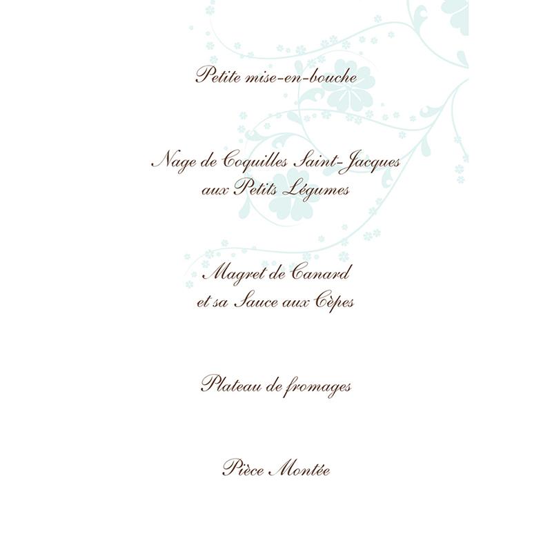 Menu mariage Nuptial chocolat turquoise