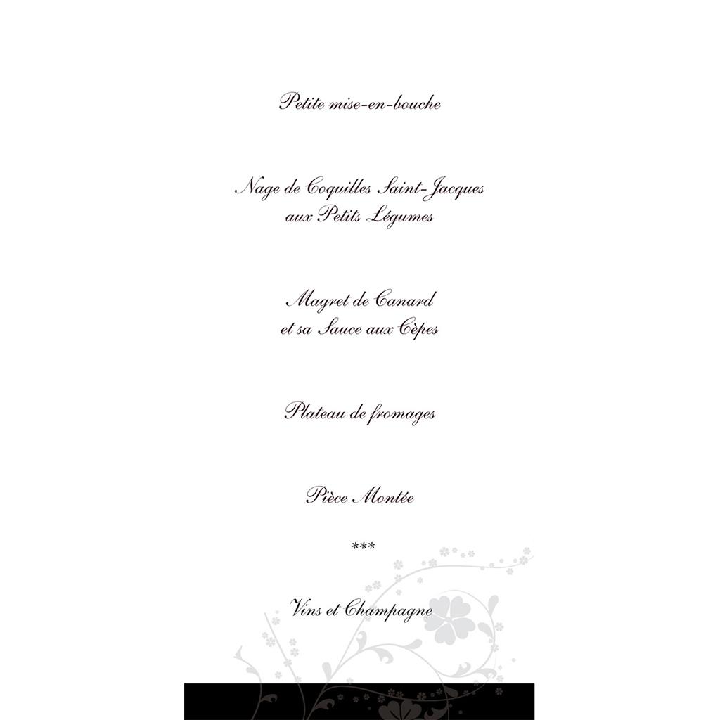 Menu mariage Nuptial noir gratuit