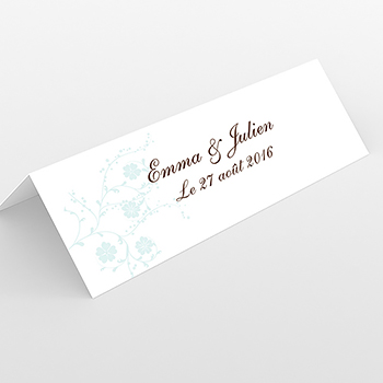 Marque-place mariage Nuptial rond chocolat turquoise