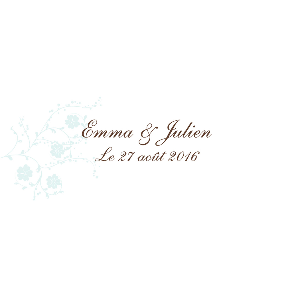 Marque-place mariage Nuptial rond chocolat turquoise pas cher